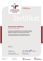 Das Bild zeigt das Zertifikat zum Audit familiengerechte Hochschule.