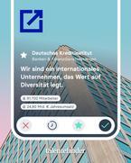 Das Bild zeigt einen Instagrampost von talentefinder. Zu sehen ist die Anwenderoberfläche von talentefinder sowie das Unternehmensprofil des Deutschen Kreditinstituts