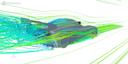 Simulation von eingefärbtem Strömungsverlauf um ein Auto