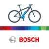 Das Logo von Bosch e-bike. Ein Fahrrad steht im Seitenprofil über den roten Bosch-Buchstaben.