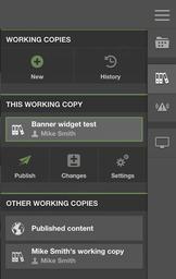 Working copy sidebar in Scrivito