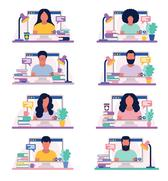 Digital Workplace illustration - people working remotely