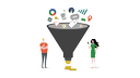 Solutions: Landing Pages. Man, woman and sales funnel.