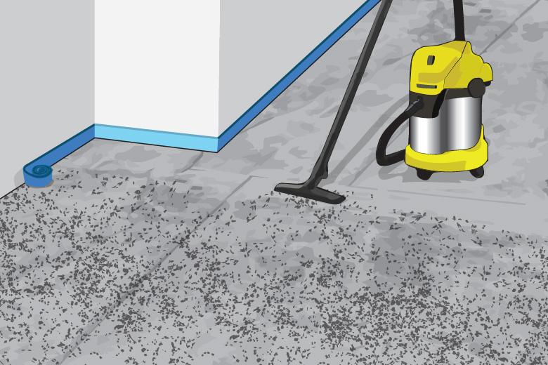 Nasssauger reinigt Untergrund vor dem Fliesenverlegen - Anleitung