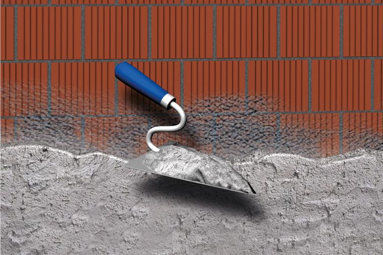 Abbildung einer Anwendungsmöglichkeit des Universalmörtels: Wände verputzen