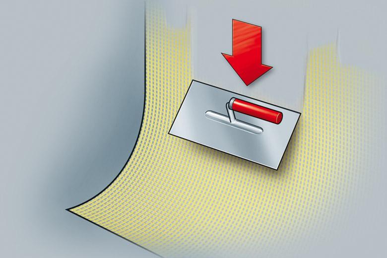 Anleitung Fassade sanieren - Schritt 4 -Zwischenbeschichtung und Armierungsgewebe auftragen