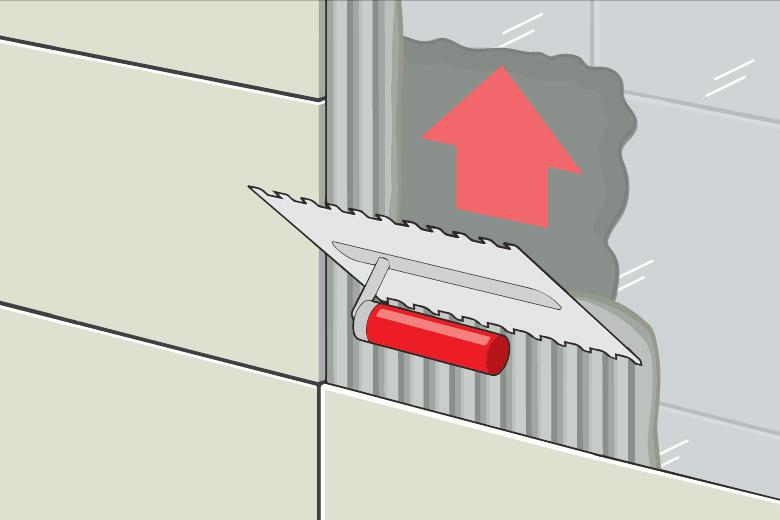 Fliese auf Fliese verlegen Anleitung - Fliesenkleber auftragen