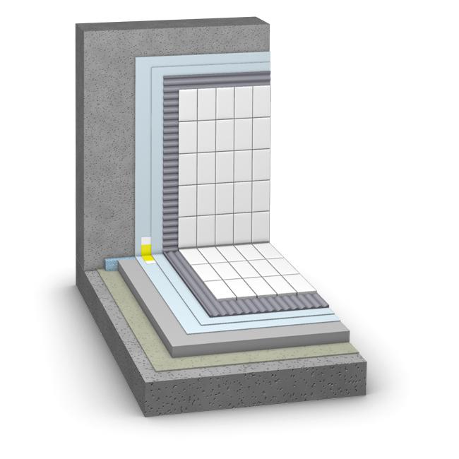 Aufbau SAKRET Fliesensystem für Wände/Becken im Schwimmbecken