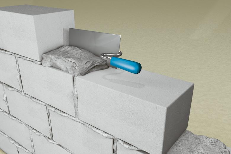 Abbildung einer Anwendungsmöglichkeit des Universalmörtels: Vermauern von Mauersteinen