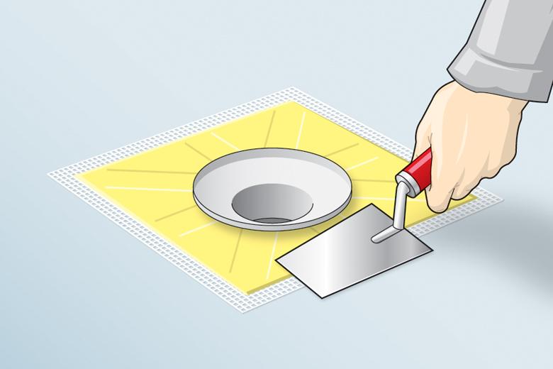 Dichtmanschetten an Ecken und Durchdringungen anbringen