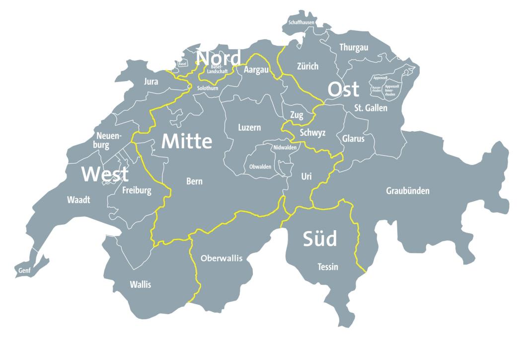 Vertriebsgebiete der SAKRET Schweiz AG/SA