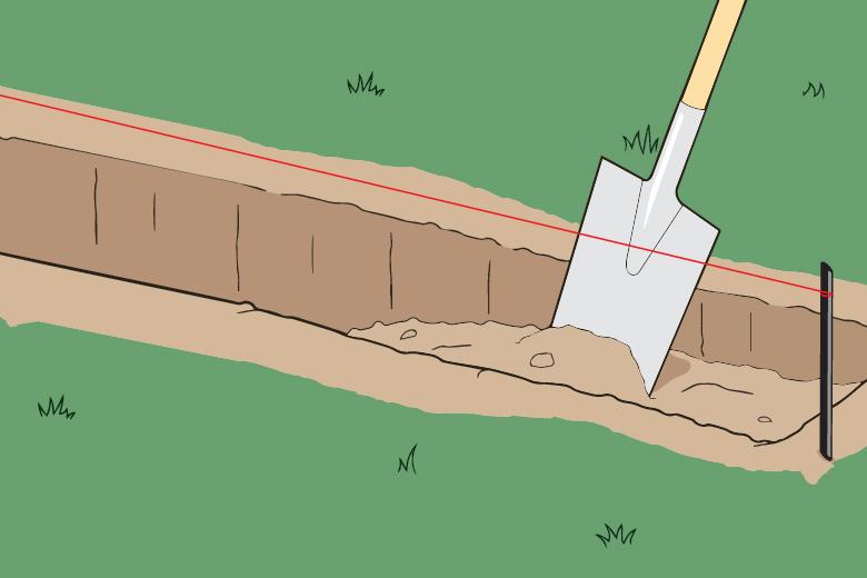 Anleitung für Streifenfundament - Schritt 1 - Loch ausheben