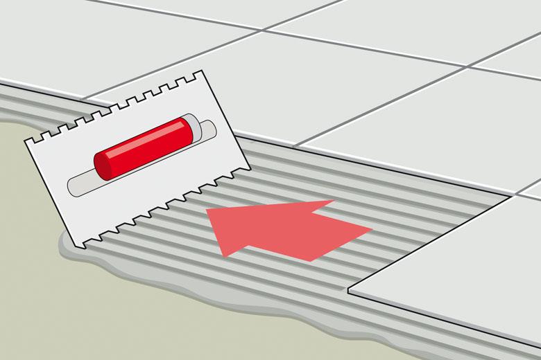 Fliesenkleber anmischen und auf den Boden auftragen und aufkämmen - Anleitung Fliesenverlegen