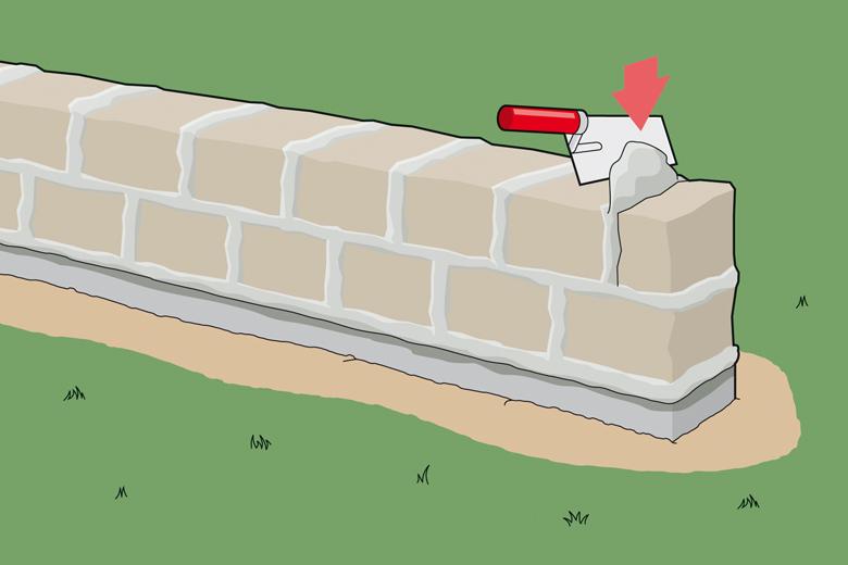 Gartenmauer bauen - Schritt 3 - Fugen füllen