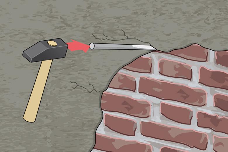 Anleitung Fassade sanieren - Schritt 1 Altputz entfernen