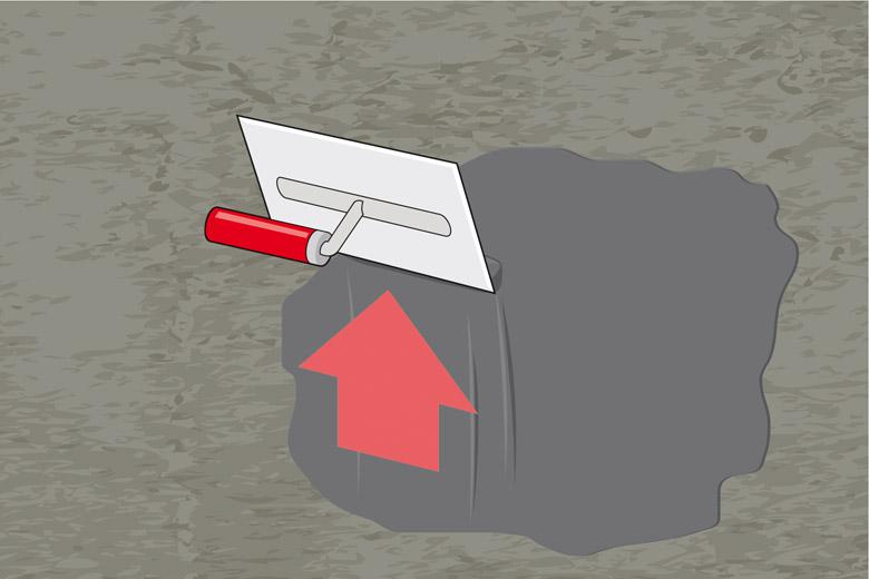 Anleitung Fassade sanieren - Schritt 2 - Putzausbrüche spachteln