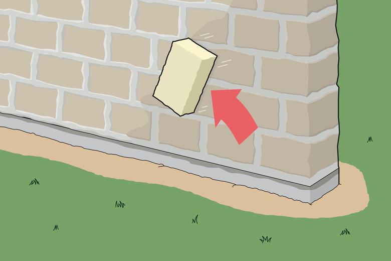 Gartenmauer bauen - Schritt 4 - Fugen reinigen