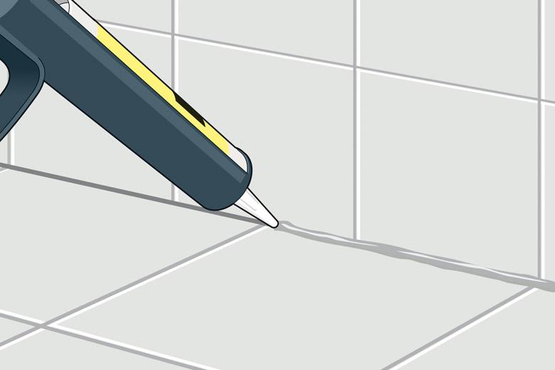 Rand- und Anschlussfugen der Bodenfliesen mit Dichtstoff füllen - Anleitung zum Fliesenverlegen