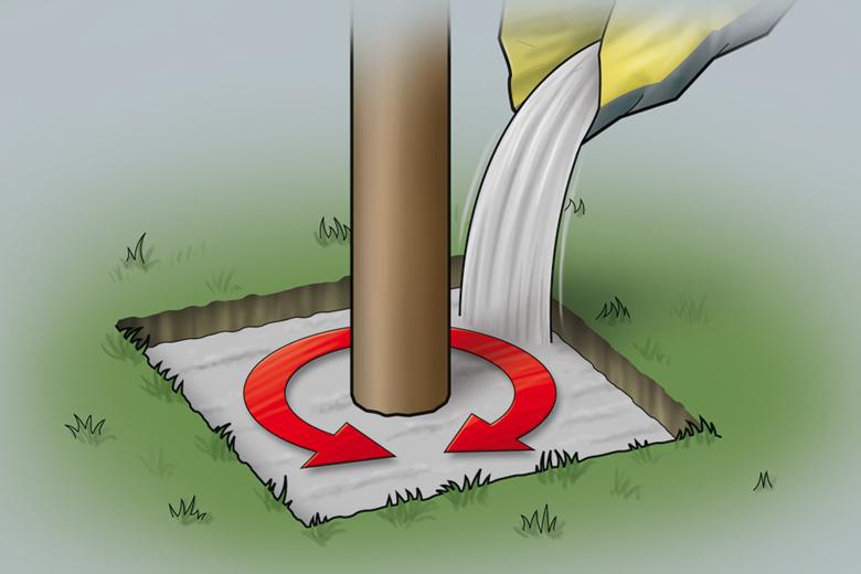 Punktfundament erstellen - Schritt 2 - Schnellbeton einfüllen
