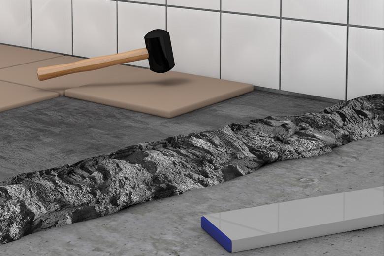 Abbildung einer Anwendungsmöglichkeit des Universalmörtels: Bodenfliesen verlegen