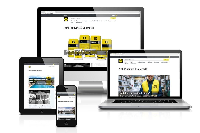 SAKRET Schweiz Verfügbarkeit der Website auf verschiedenen Geräten