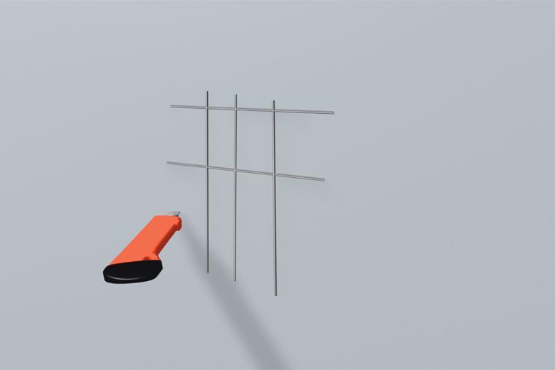 Gitterschnittprüfung mit einem Cuttermesser