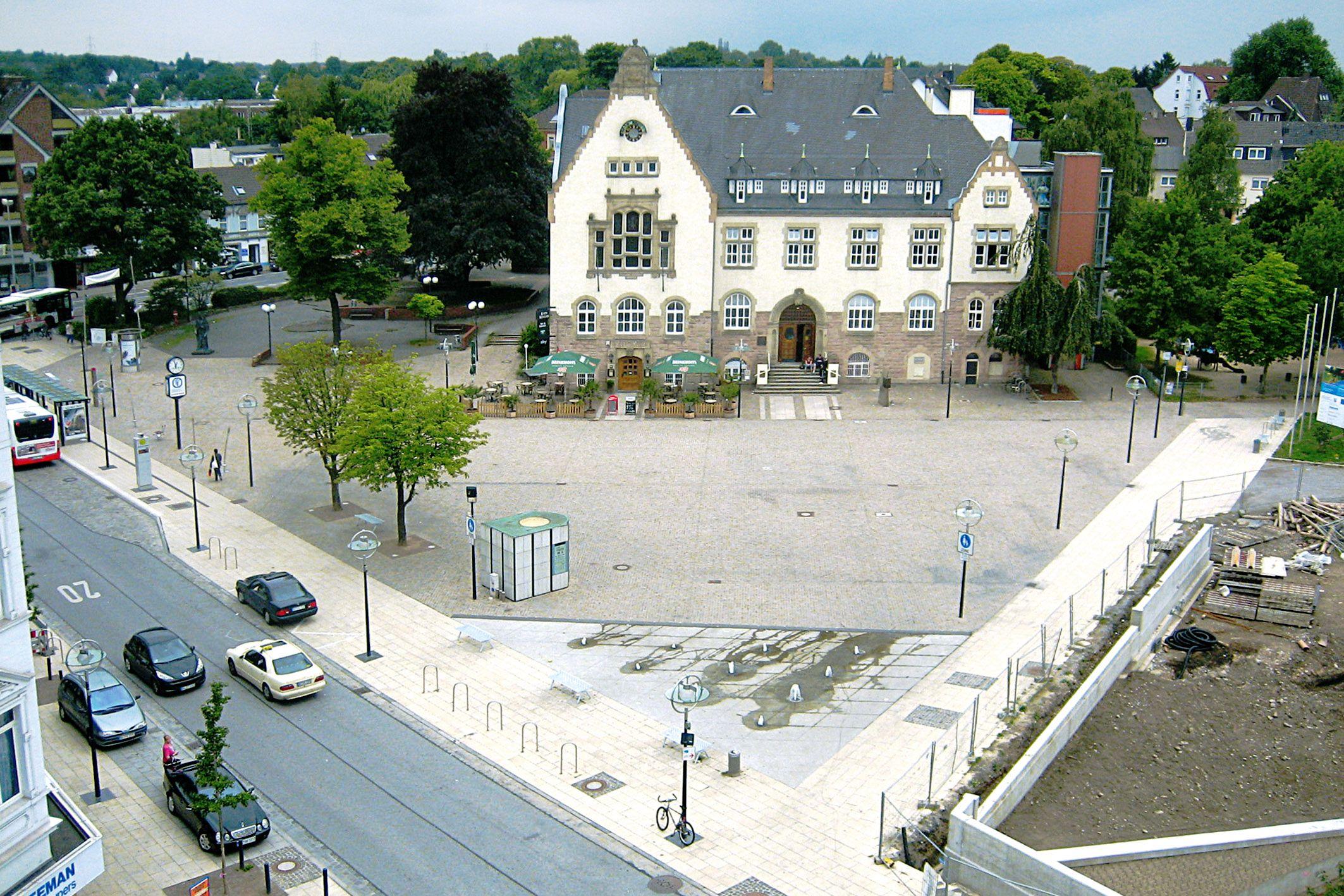 SAKRET Referenz Marktplatz Dortmund Pflastersteine Vogelperspektive