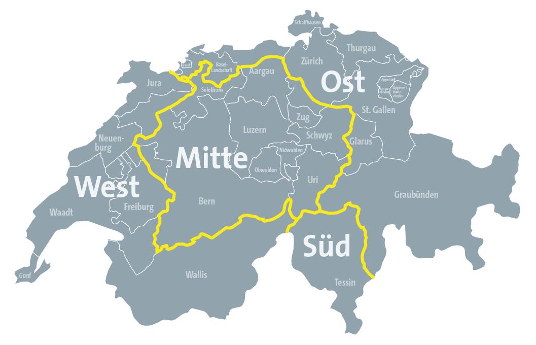 SAKRET Schweiz Vertriebsgebiete