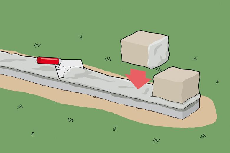 Gartenmauer bauen - Schritt 2 - Mörtel auftragen