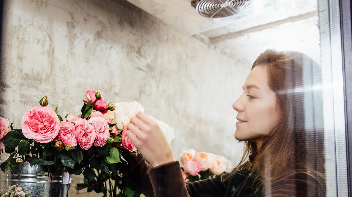 Florist in cold room for flowers