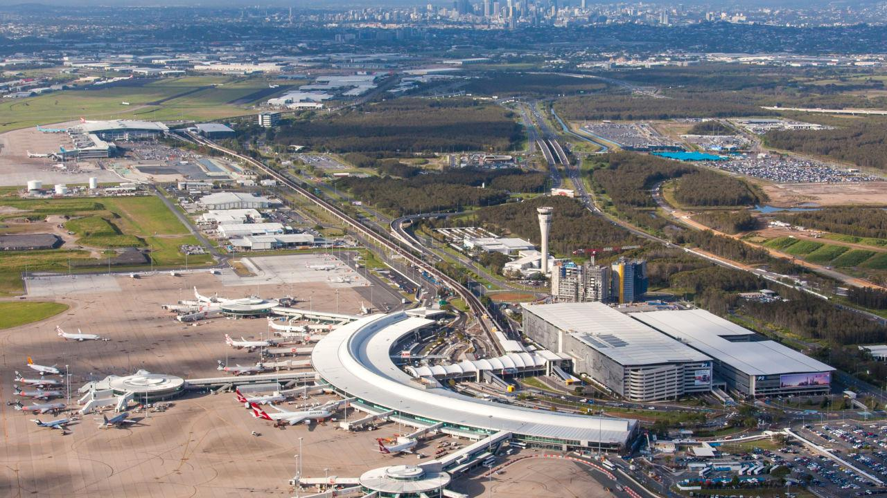 The image shows the Brisbane airport.