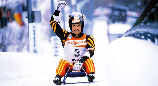 The picture shows the luge athlete Georg Hackl