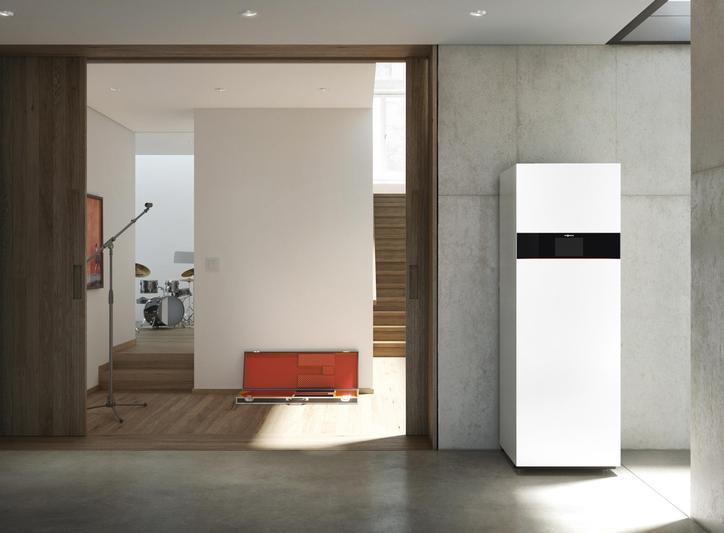Das Bild zeigt das Kompaktgerät Vitodens 343-F in einer Wohnung.