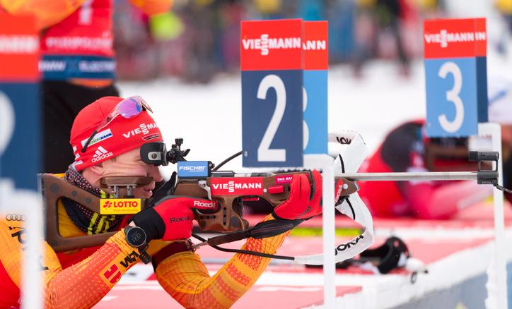 Biathlete Benedikt Doll at a competition