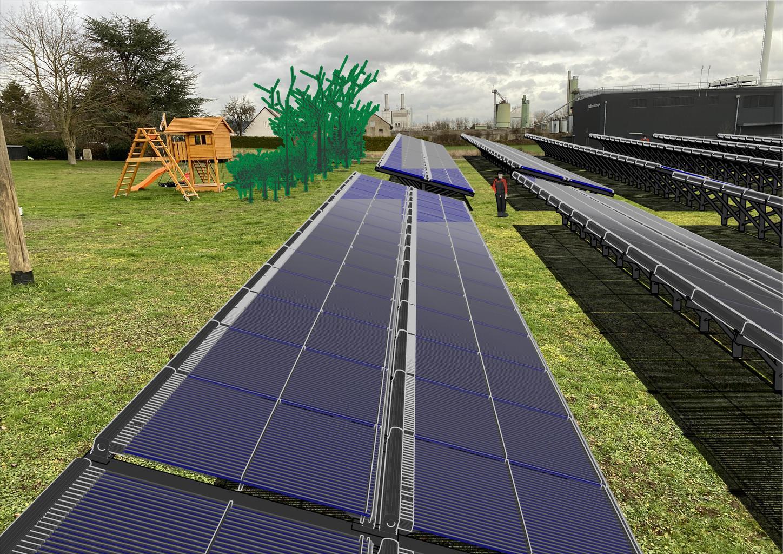 Das Bild zeigt die von Viessmann geplante Solarthermieanlage für die Stadtwerke Lemgo.