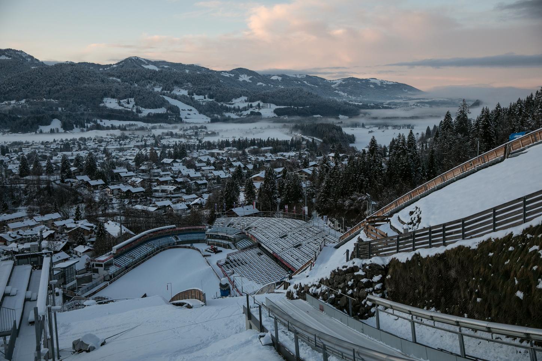 The picture shows the ski jump in Oberstdorf in winter