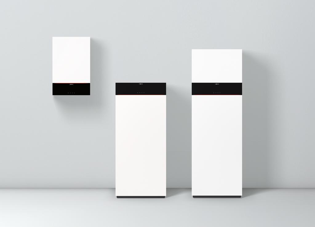 Im Bild die neue Generation der Vitodens Gas-Brennwertgeräte für Ein- und Zweifamilienhäuser