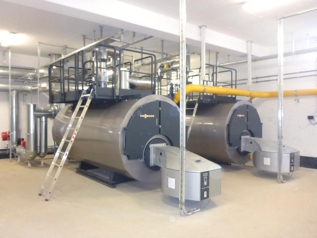 The image shows two gas-fired Vitomax utility boilers from Viessmann.
