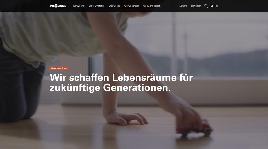 Das Bild zeigt einen Ausschnitt der neuen Viessmann Website