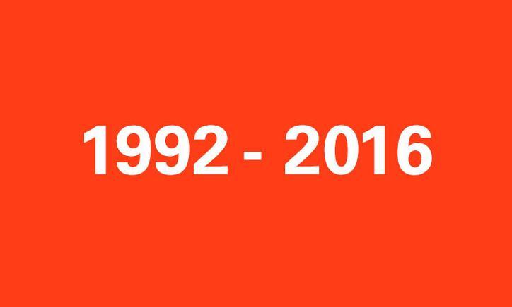 Das Bild zeigt eine rote Kachel mit der Aufschrift 1992-2016