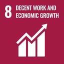 Das Bild zeigt das SDG-Ziel 8 Menschenwürdige Arbeit und Wirtschaftswachstum.