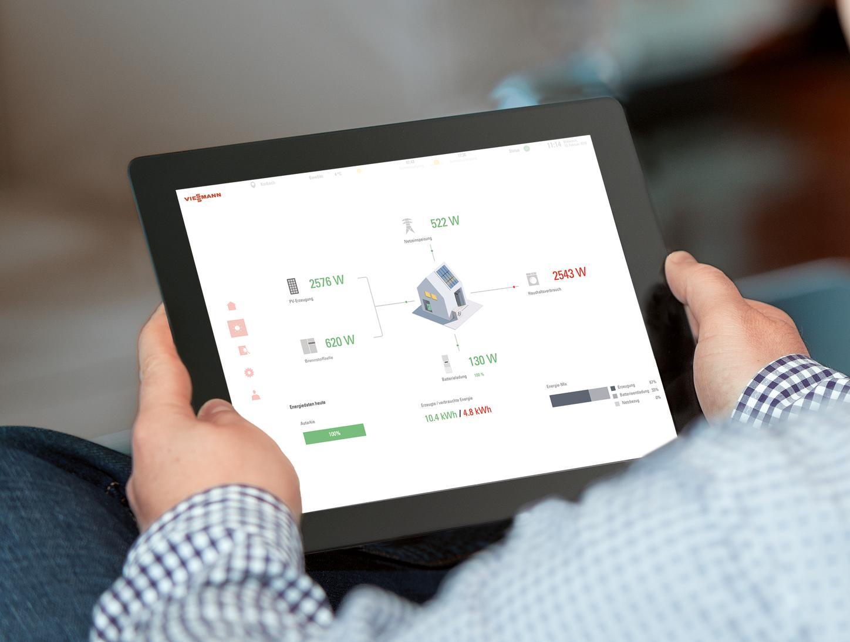 Das Bild zeigt ein Tablet mit der Bedienoberfläche der Gridbox App.