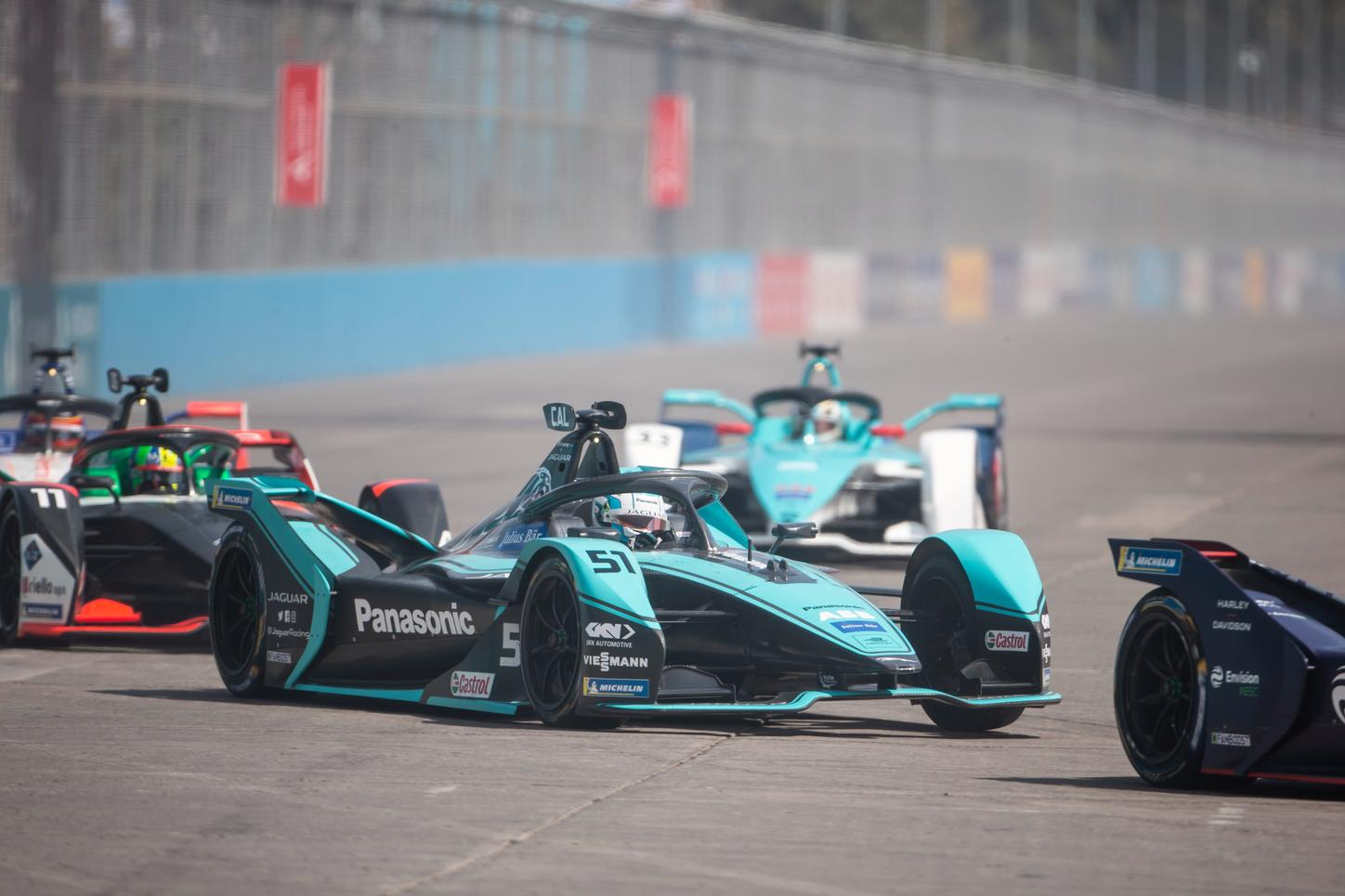 The picture shows Viessmann with Panasonic Jaguar Racing in a race.