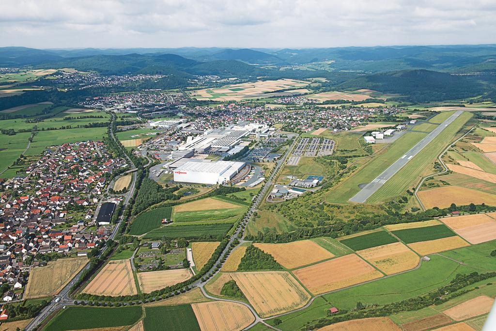 The image shows an aerial view of the landing site and the plant in Allendorf.
