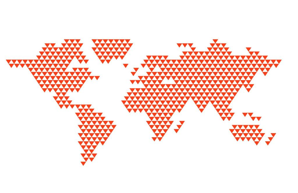 World map with red triangles on white background.
