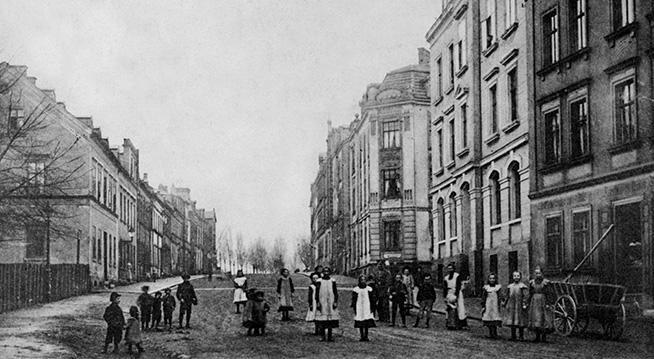 Das Bild zeigt die Alsenberger Straße in Hof um 1929