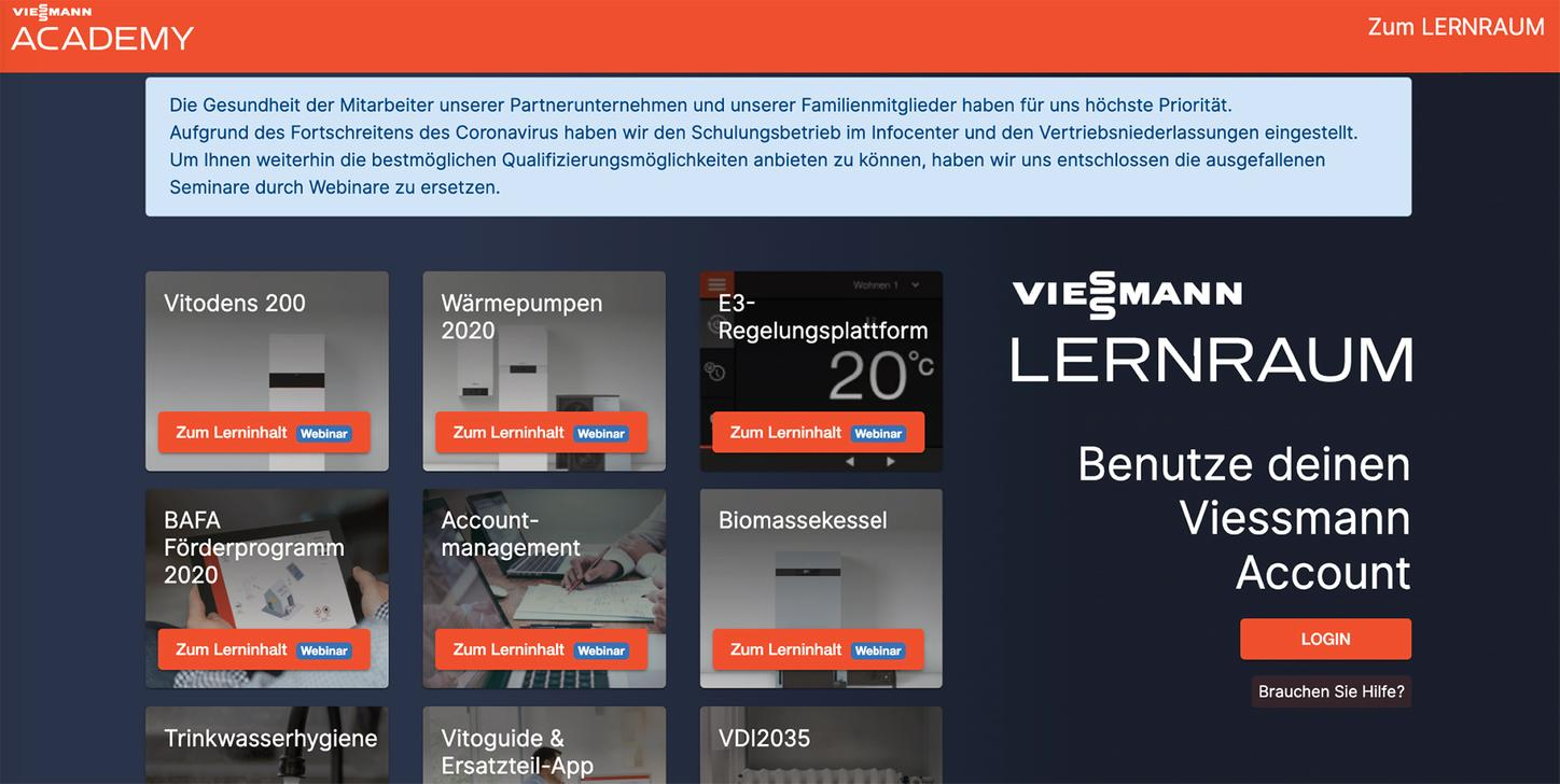 The picture shows the virtual learning space from Viessmann.