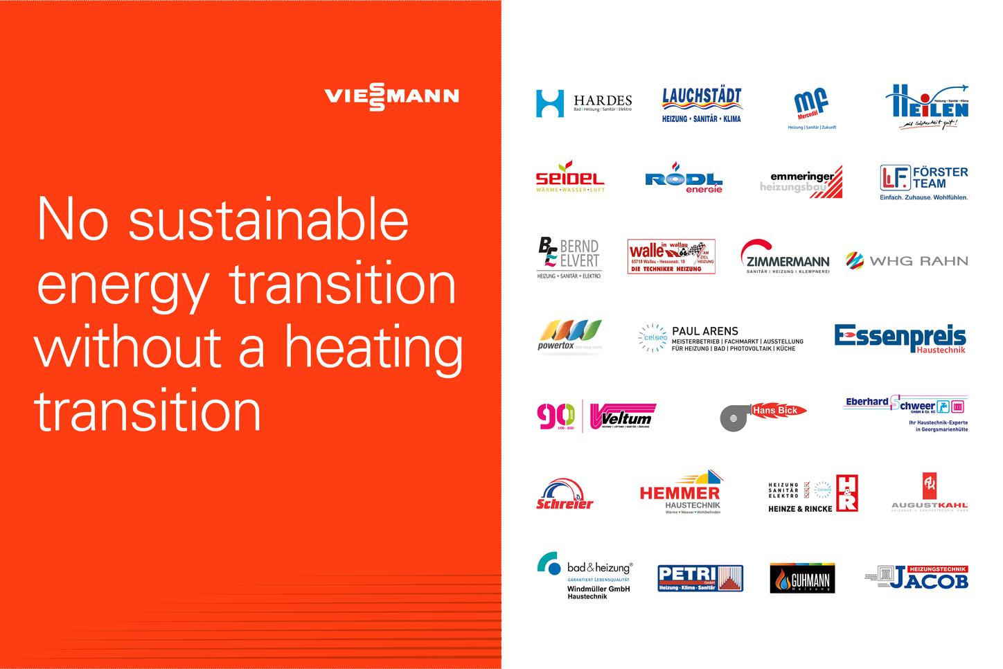 """The image shows the slogan """"No energy turnaround without a heat transition"""" and the logos of the installers involved."""