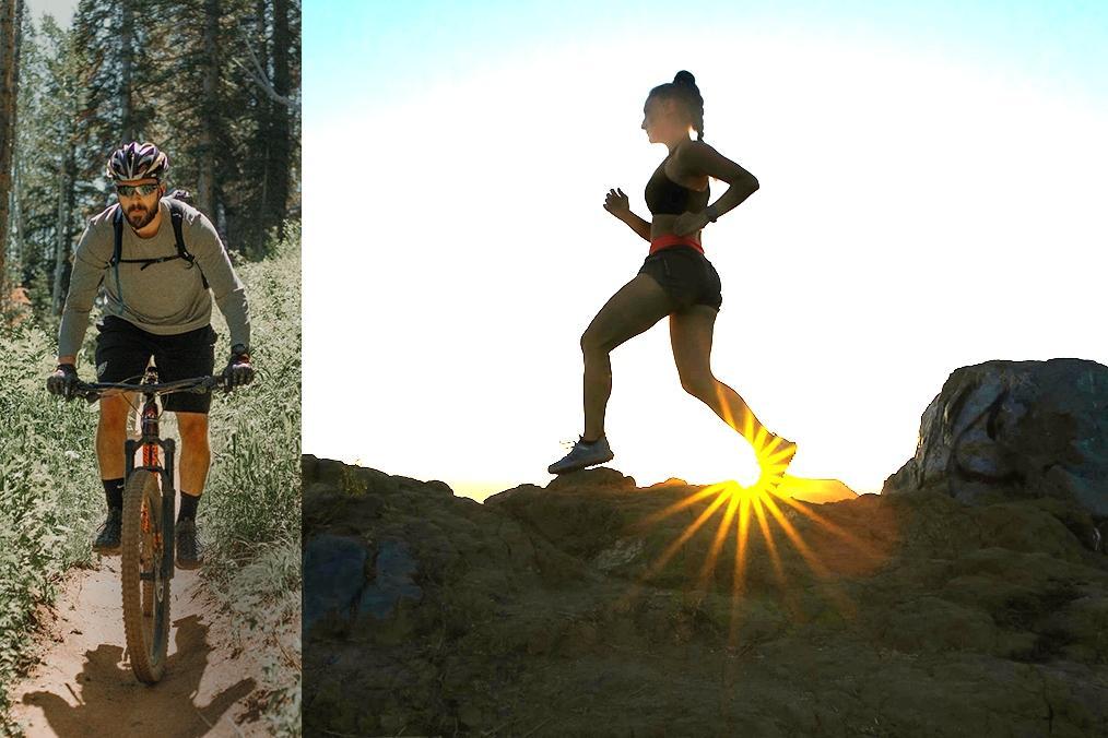 Das Bild zeigt eine Frau beim Joggen und einen Mann beim Downhill Radfahren im Wald