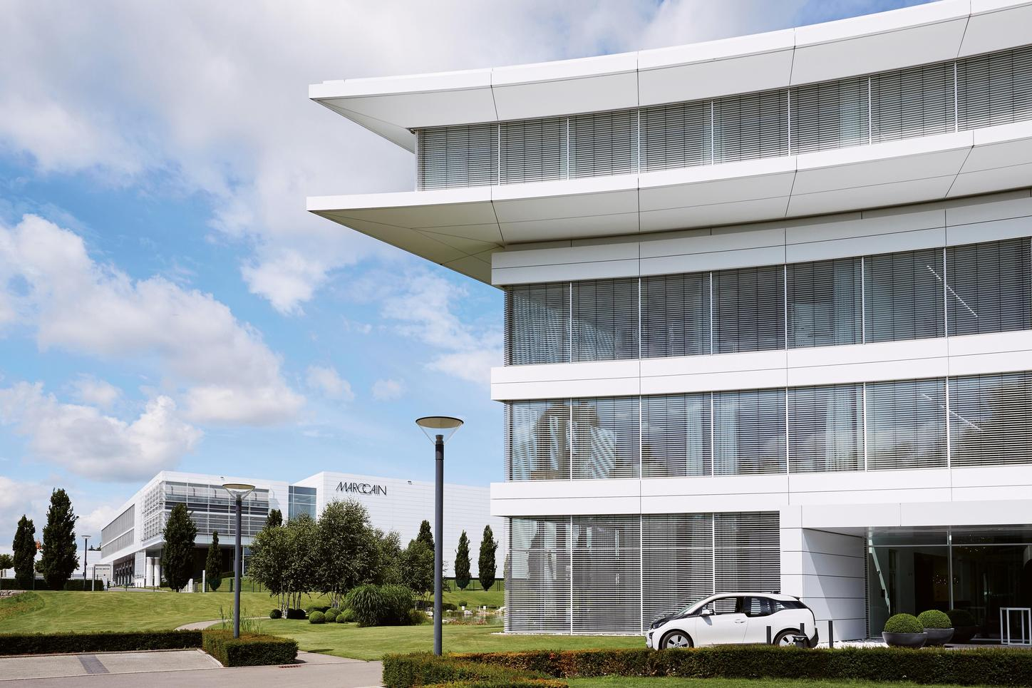The picture shows the production and administration building of Marc Cain GmbH.